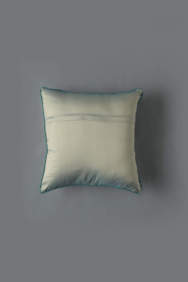 Polysilk Cushion Cover In Green/Grey Color