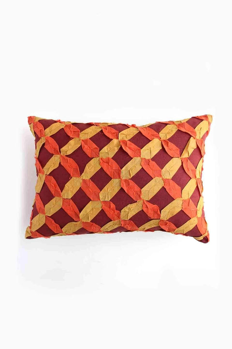 Blended Fabric Cushion Cover In Flame Shade And Handcrafted Design