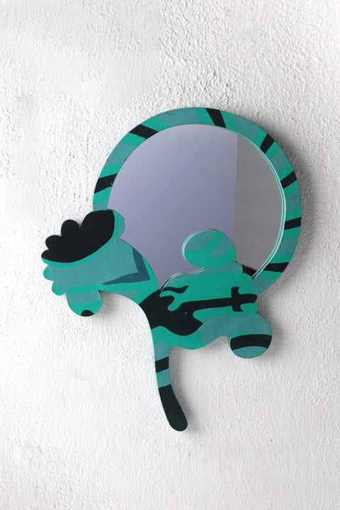 Glass & Wood Mirror In Green Color