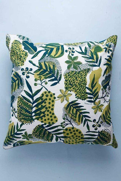 Cotton Duck Floor Cushion In Dark Green Shade And Screen Printed Botanical Style