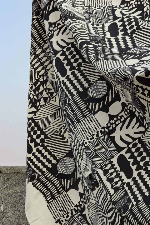 Patchwork Upholstery Fabric (Black/White) Swatch