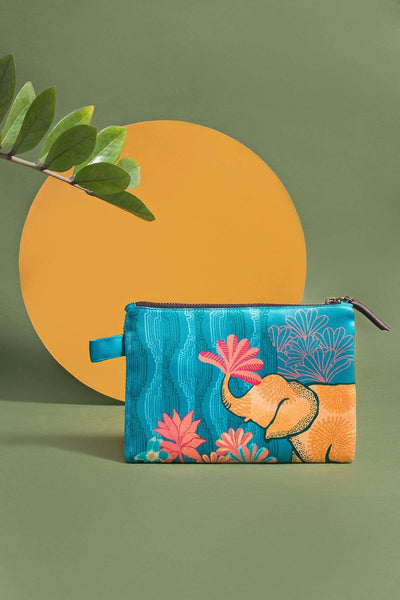 Cotton Satin Make Up Pouch In Turquoise Color And Digitally Printed Style