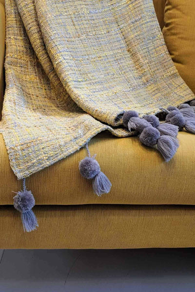 Cotton & Viscose Throw In Yellow / Grey Shade And Textured Woven Design