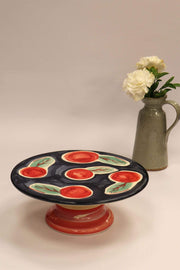 Ceramic Cake Stand In Multi-Colored Color And Hand Painted Style