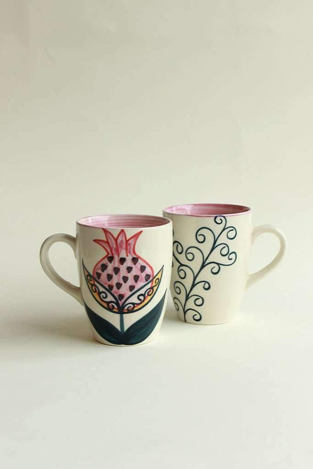 A Set Of 2 Ceramic Coffee Mug In Pink Shade And Hand Painted Design