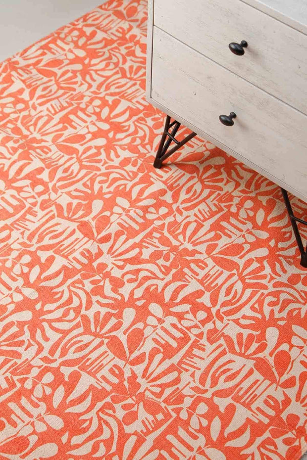 100% Cotton Printed Rug In Tangerine Shade And Screen Printed Botanical Abstract Design