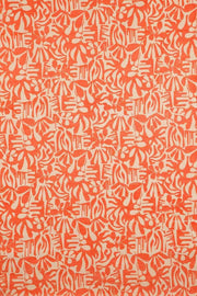 100% Cotton Printed Rug In Tangerine Color And Screen Printed Botanical Abstract Style