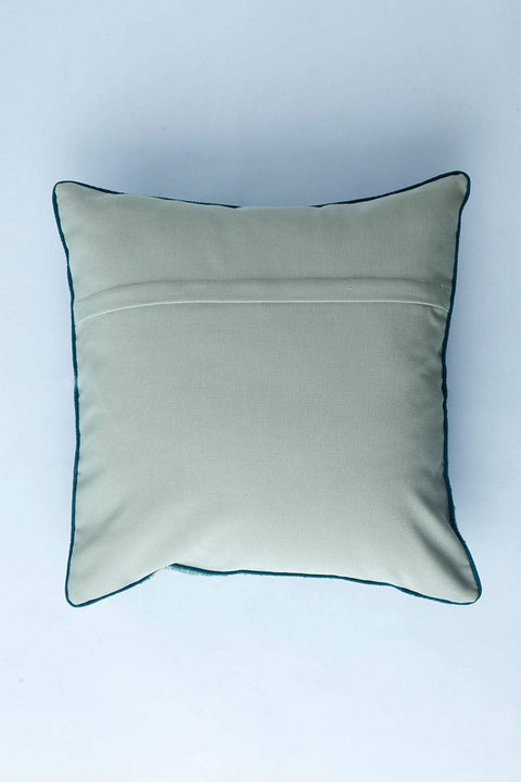 Cotton & Viscose Cushion Cover In Green Shade And Handcrafted Style
