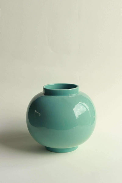 Ceramic Ceramic Vase In Mint Color And Handcrafted Ceramic Glaze Design