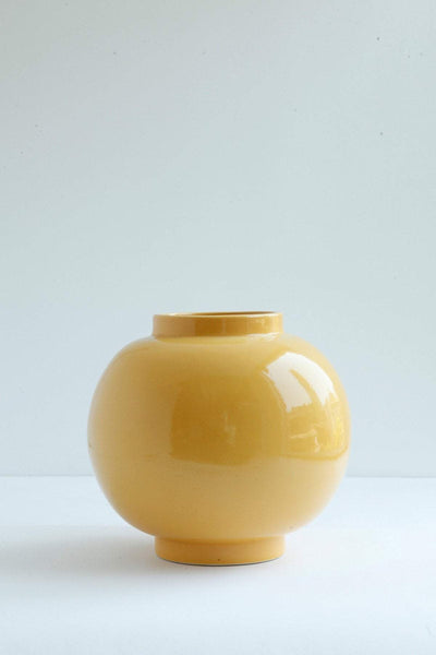 Ceramic Ceramic Vase In Mustard Color And Handcrafted Ceramic Glaze Design
