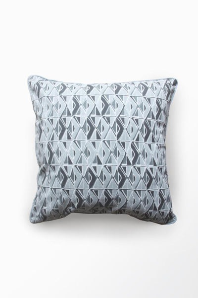 Cotton Sheeting Cushion Cover In Grey Shade And Screen Printed Geometric Style