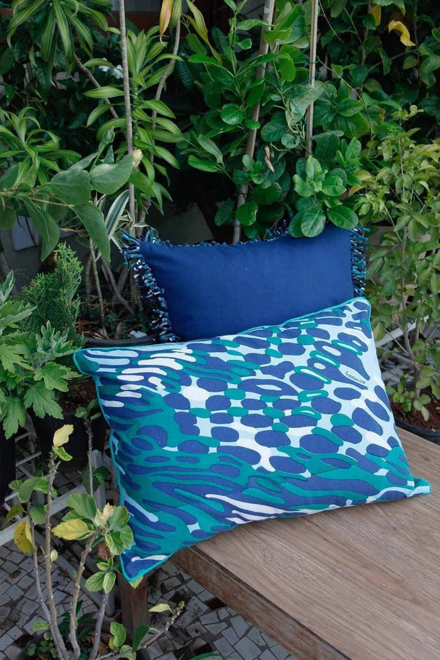 Cotton Sheeting Cushion Cover In Blue Color And Screen Printed Abstract Design