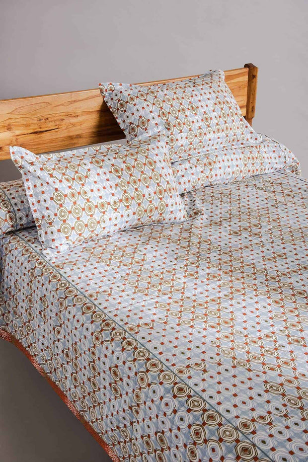 Buy Sej Bedcover (Blue/Brown) Online | Freedomtree.in