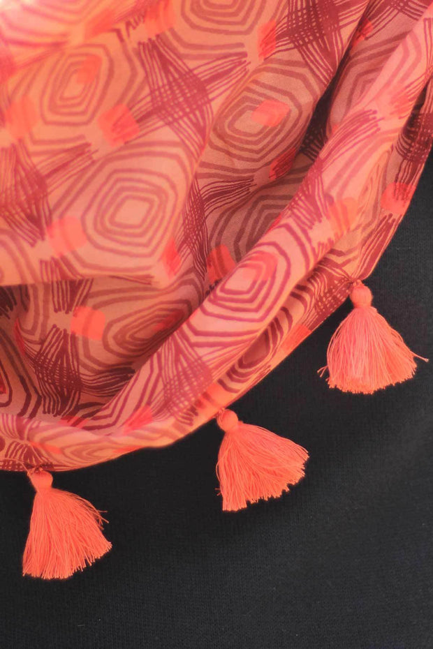 Cotton Voile Scarve In Salmon/Deep Red Color And Screen Printed Design