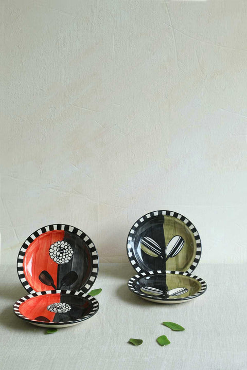 Buy Semanae Olive/Black Small Plate (Set Of 2) Online | Freedomtree.in