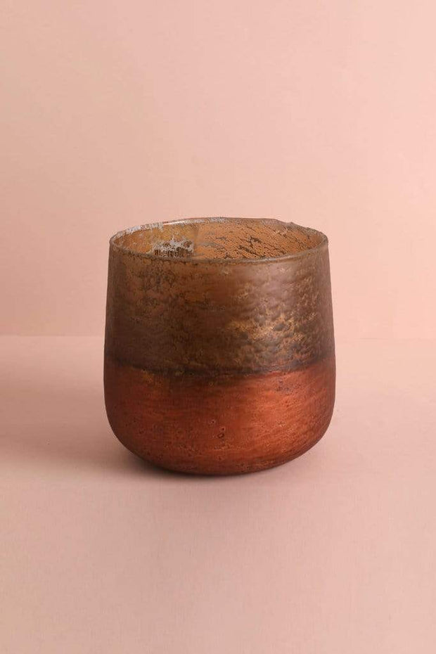 Organic Glass Votive In Copper Color And Handblown Artisanal Style