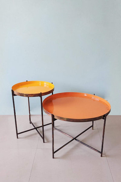 Metal Side Table In Orange/Yellow Color And Contemporary Enamel Style