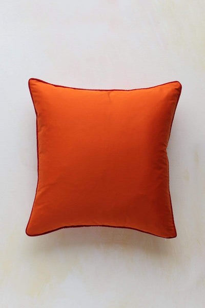 Twill Cushion Cover In Flame Shade And Handcrafted Style