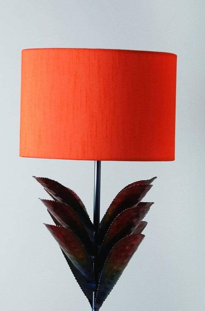 A Medium Cotton Sheeting Drum Lampshade In Flame Shade And Handcrafted Design
