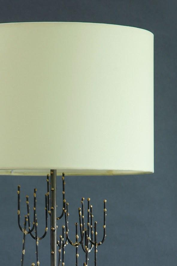 A Medium Cotton Sheeting Drum Lampshade In Lime Shade And Handcrafted Design