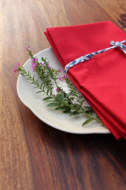 A Set Of 4 100% Cotton Dinner Napkin In Red Color And Hand Painted Design