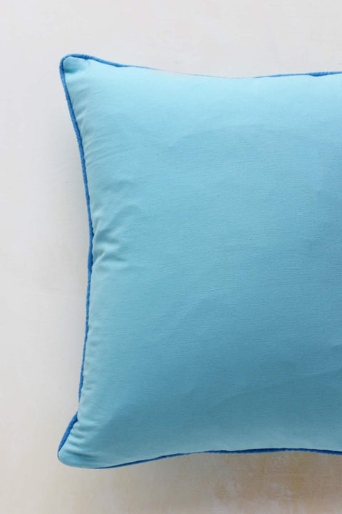 Twill Cushion Cover In Sky Blue Shade And Handcrafted Style