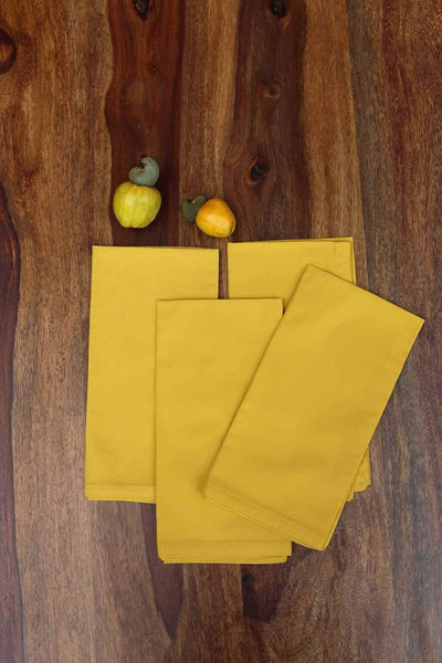 A Set Of 4 100% Cotton Dinner Napkin In Yellow Shade And Hand Painted Style