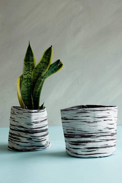 Buy Stripey Canvas Planter (Black/White) Online | Freedomtree.in