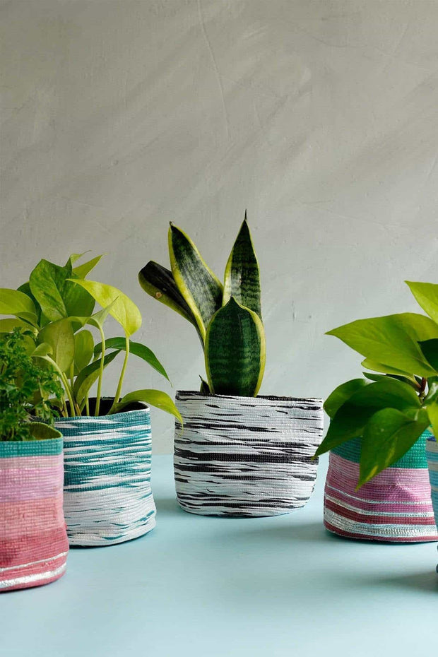 Stripey Canvas Planter (Black/White)