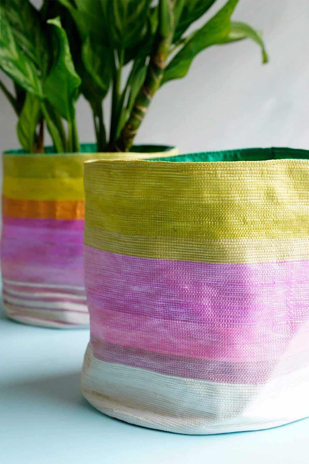 Stripey Canvas Planter (Multi-Colored)