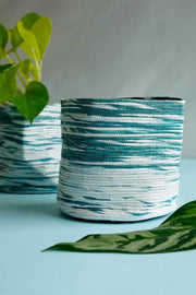 Buy Stripey Canvas Planter (Teal/White) Online | Freedomtree.in