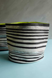 Stripey Canvas Planter (White/Black)