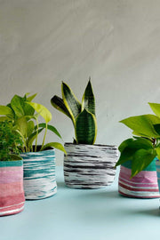 Stripey Canvas Planter (White/Teal)