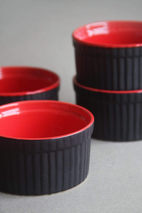 A Set Of 4 Ceramic Ramekin In Red Color And Handcrafted Ceramic Glaze Design