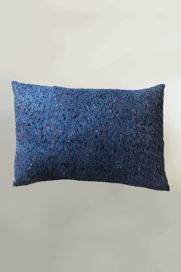 Cotton & Viscose Cushion Cover In Deep Blue Color And Textured Woven Design