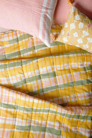 A Double Cotton Voile Quilt In Yellow/Sage Shade And Screen Printed Geometric Abstract Design