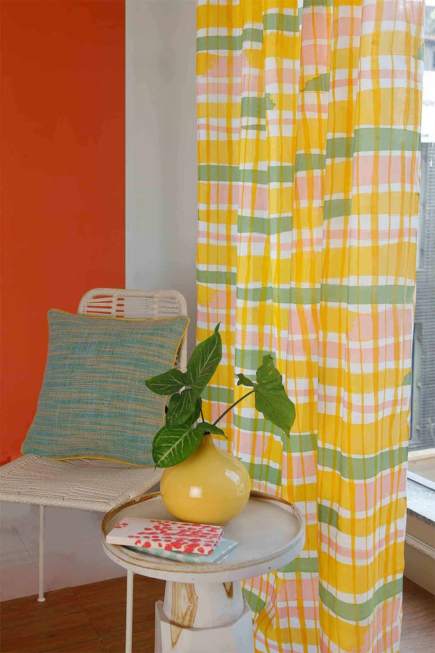 Cotton Voile Sheer Fabric And Curtains In Yellow/Sage Color And Screen Printed Geometric Abstract Style