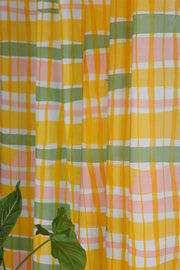 Summer Squares Sheer Fabric And Curtains (Yellow/Sage)