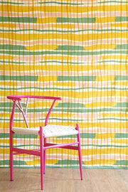 Cotton Voile Upholstery Fabric In Yellow/Sage Color And Screen Printed Geometric Abstract Design