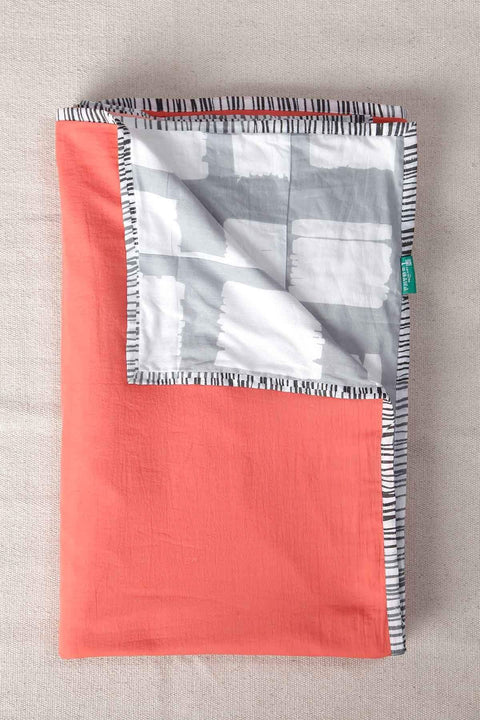 A Double Cotton Voile Dohar In Coral Shade And Handcrafted Style