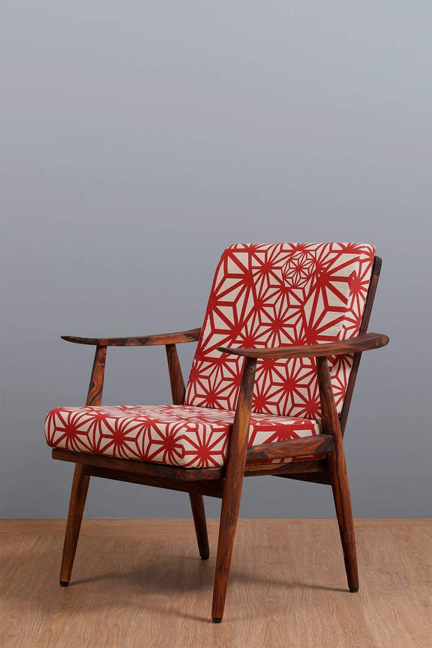 Sheesham Wood Accent Chair In Natural Color And Handcrafted Hardwood Style