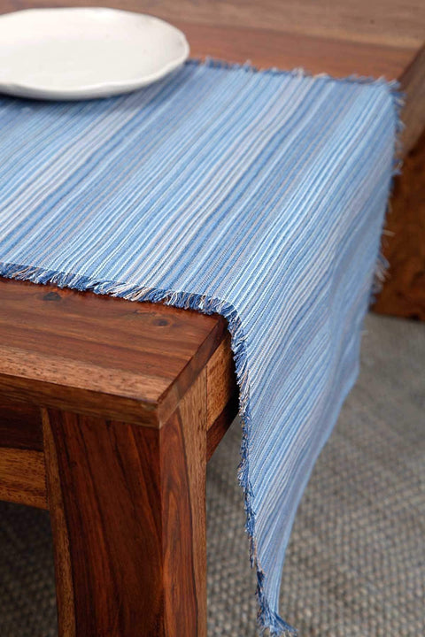 Woven Cotton Table Runner In Blue Color