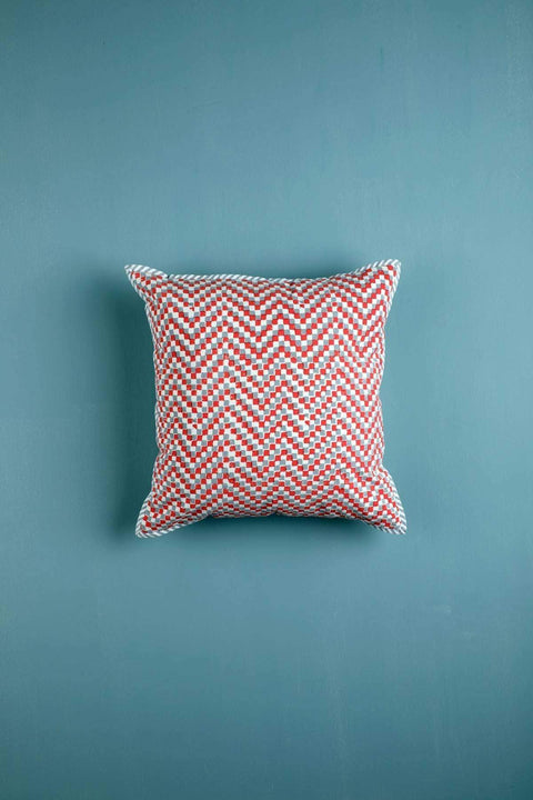 Cotton Duck Cushion Cover In Coral/Grey Color And Handcrafted Block Printed Style