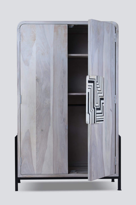 Wood & Metal Cupboard In Black & White Color And Abstract Monochrome Style