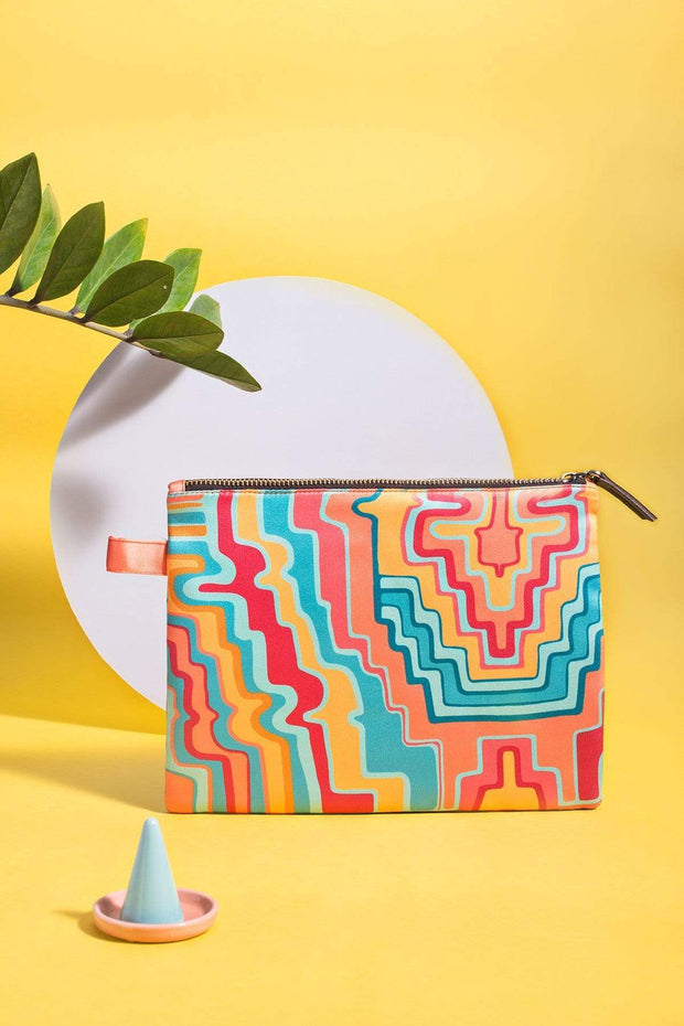 Cotton Satin Make Up Pouch In Multi-Colored Shade And Digitally Printed Style