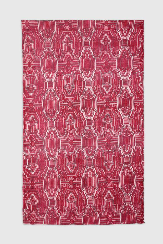 100% Cotton Printed Rug In Pink Shade And Geometric Screen Printed Design