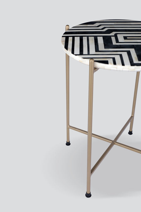 Wood & Inlay Side Table In Black & White Shade And Abstract Monochrome Style