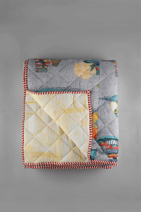 A Double Cotton Voile Quilt In Grey Color And Narrative Screen Printed Style