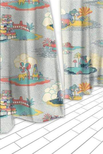 Buy Temple Town Grey Sheer Fabric And Curtains Online | Freedomtree.in