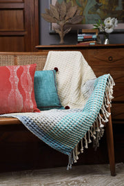 Woven Cotton Throw In Blue/White Shade And Handcrafted Woven Style